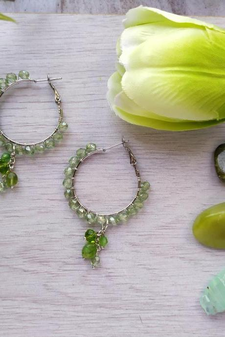 Spring collection: Green and silver bubbly hoops, Green boho chandelier earrings, Light green hoop earrings,Wire wrapped silver dangle drops