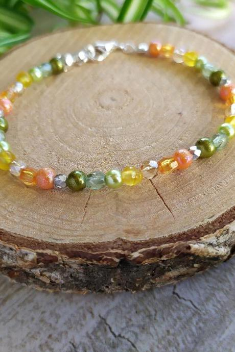 Spring collection: Yellow orange green bracelet, Yellow boho beaded bracelet, Dainty thin ombre yellow green bracelet, Spring color bracelet