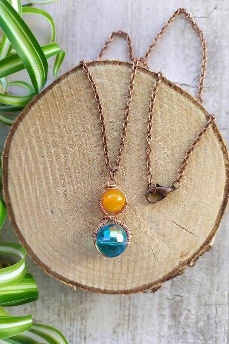 Spring collection: Wire wrapped Blue and Yellow Agate pendant, Simple blue and yellow gemstone boho necklace, Dainty beaded copper necklace
