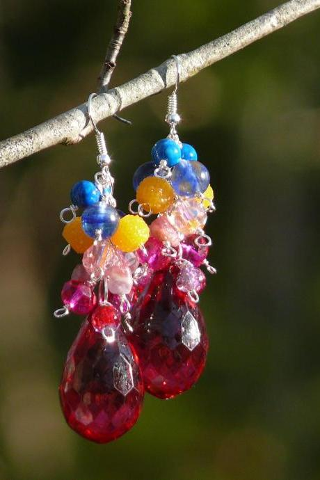 Spring collection: Blue yellow pink red cluster earrings, Long Moss Quartz Strawberry quartz chandeliers, Bold drop multicolor boho earrings