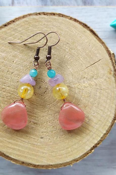 Mixed gemstone summer earrings, Cherry quartz Amethyst Citrine Jade earrings, Pink drop earrings, Colorful gemstone drops, Crystal earrings