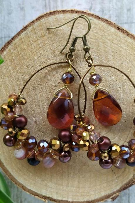 Brown bronze gold wire wrapped oval hoops with Agate gemstone beads, Sparkly autumn brown boho chandeliers, Festival gypsy hoop earrings