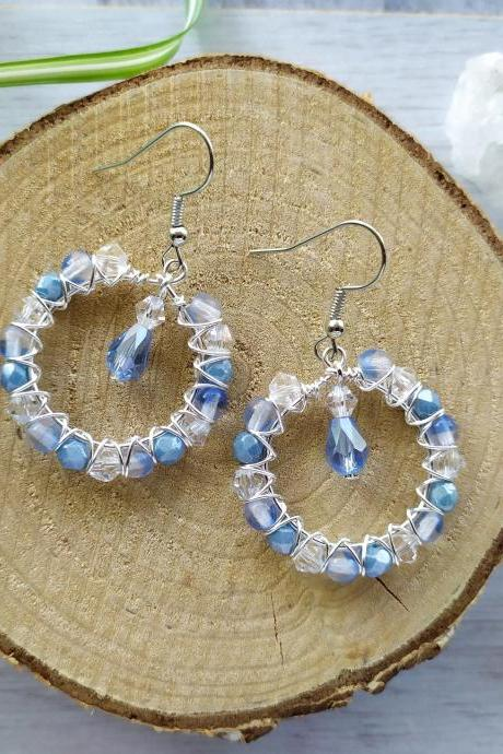 Dreamy blue and clear hoop earrings, Small hoops with faceted glass beads, Pastel blue boho earrings, Dainty wire wrapped hoops with dangle