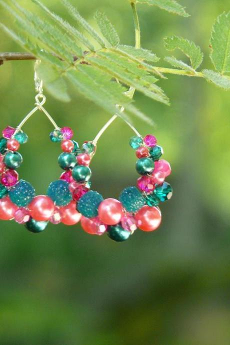 Dark pink teal bubbly hoops, Wire wrapped statement earrings, Beaded teardrop shaped hot pink and teal hoops, Magenta dark green earrings