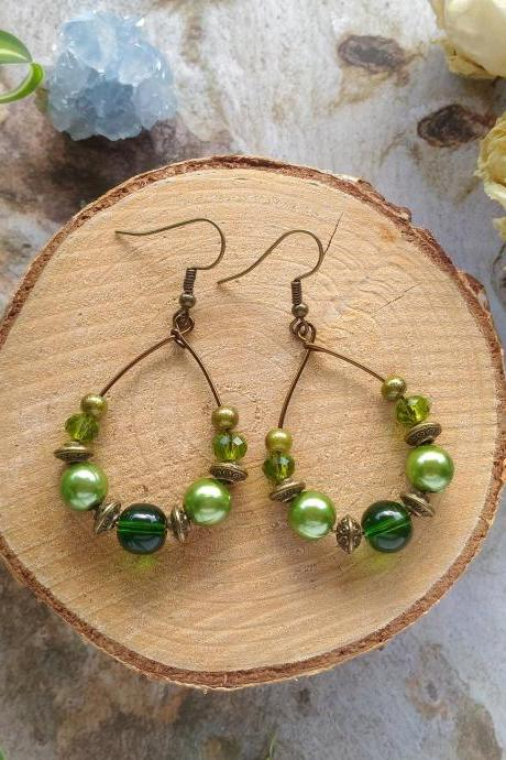 Green bohemian hoop earrings, Green and bronze dangle earrings, Army Green boho hoops, Olive green brass dangles,Teardrop hoops,Gift for her
