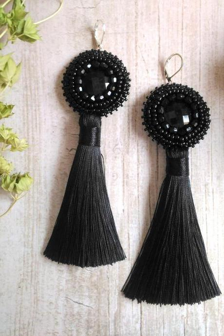 Black tassel earrings, Long bead embroidered cabochon earrings, Elegant black earrings, Dainty beadwork earrings with tassel,5 inch earrings