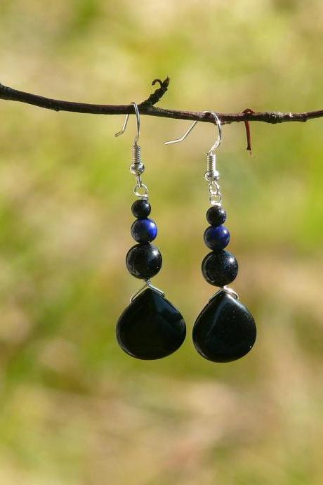 Mixed gemstone earrings, Black onyx Lapis Lazuli Blue Goldstone earrings, Grounding earrings, Black blue drop earrings,Dainty gemstone drops