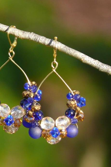Blue gold earrings, Royal blue and golden earrings, Beaded hoop earrings, Blue boho earrings, Elegant earrings, Statement earrings
