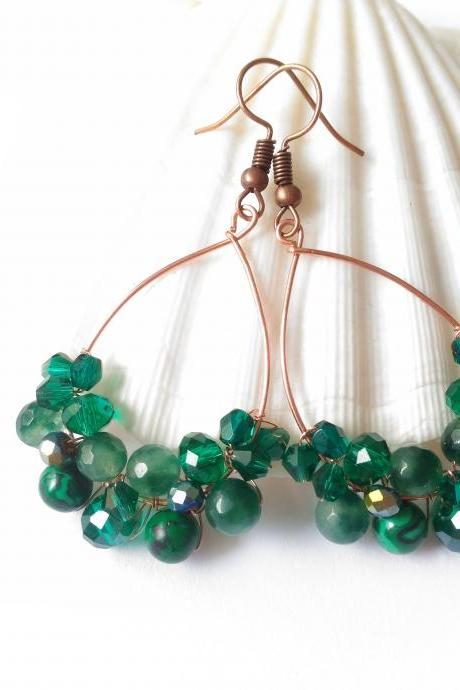 Teal gemstone hoops, Mixed gemstone earrings, Green boho earrings, Elegant beaded earrings, Wire wrapped copper, Statement earrings