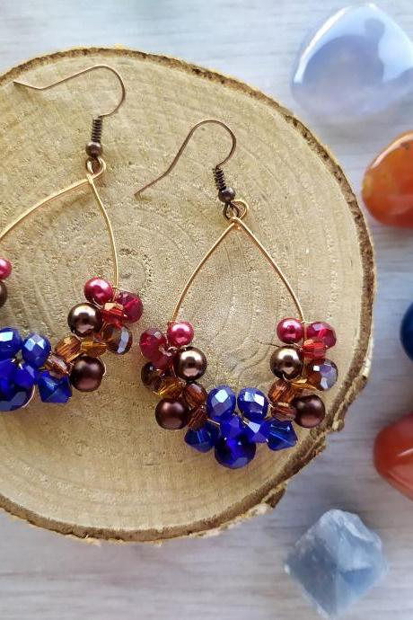 Brown red blue beaded earrings, Brown and copper bubbly hoops, Wire wrapped elegant earrings,Autumn style earrings,Earrings in natural tones