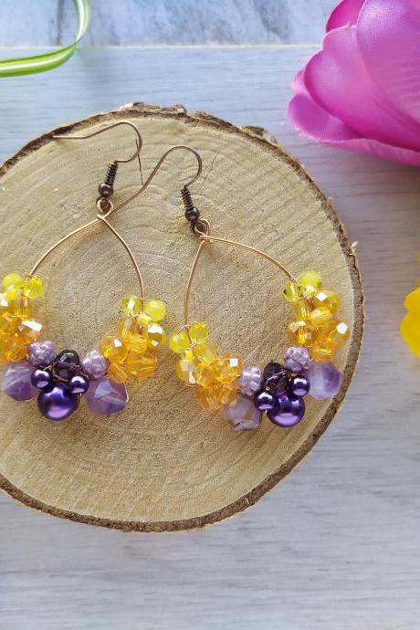 Purple yellow orange hoop earrings, Wire wrapped copper hoops, Yellow purple Amethyst boho earrings, Summer happy colored gemstone dangles