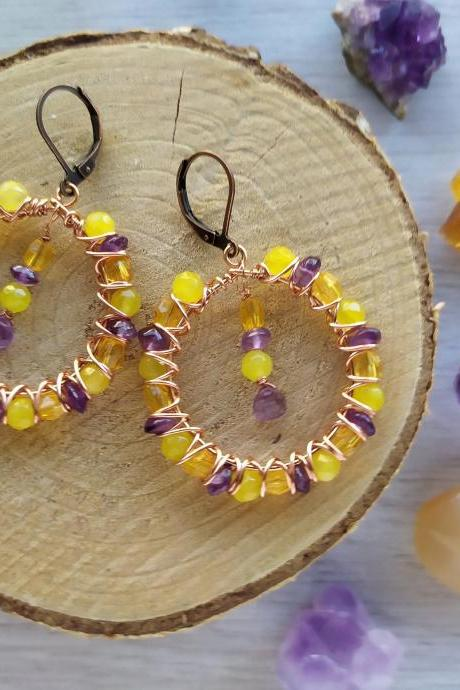 Yellow and purple bubbly hoops, Amethyst Agate gemstone copper earrings, Purple and yellow beaded chandelier earrings