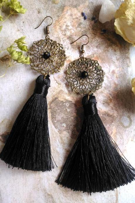 Black tassel earrings, Black bronze bohemian earrings,Tassel chandelier earrings,Long black earrings with tassels,Statement festival jewelry