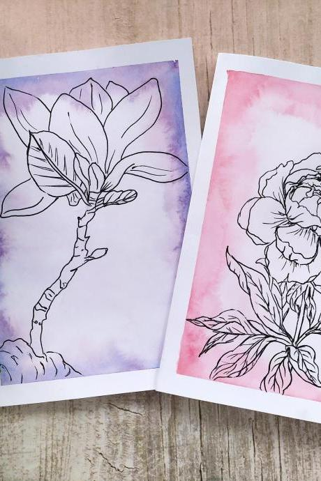Botanical watercolor greeting card for her, Gifting card with hand-drawn flower, Best friends pink purple birthday card,Peony Magnolia cards