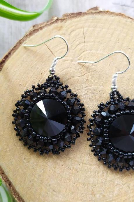 Swarovski crystals elegant black earrings, Dainty black bead embroidery earrings, Bohemian statement earrings with Swarovski rivoli cabochon