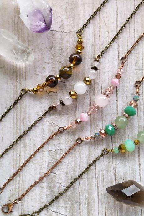 Gemstone brass bracelet, Boho Crystal beaded bracelet, Rose quartz, Tigers eye, Aventurine copper bracelet, Protection bracelet, Gift ideas