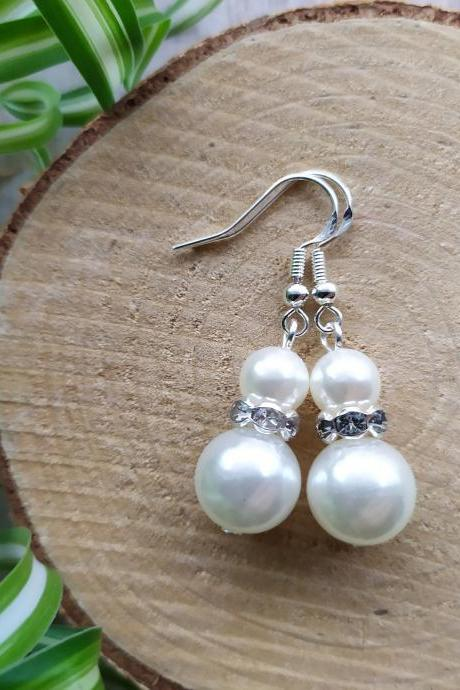 Small wedding earrings, Dainty pearl white dangles, Elegant ivory and silver bridal earrings, Pearl and rhinestone drop earrings,