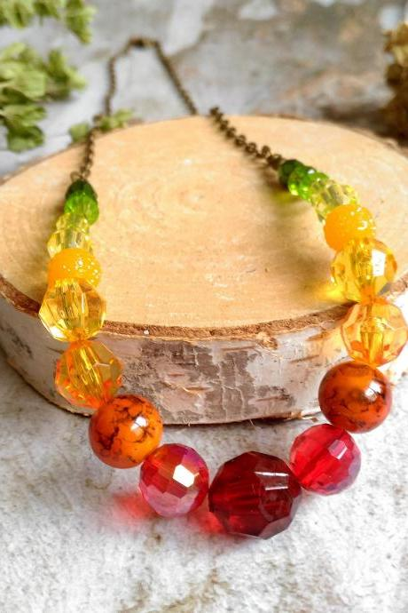 Autumn beaded necklace, Green yellow orange red ombre necklace, Bronze chain beaded necklace, Seasonal boho necklace, gift for her