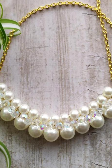 Bold white wedding necklace,Beaded pearl white bib necklace,Elegant ivory and gold bridal necklace,Wire wrapped white and gold boho necklace