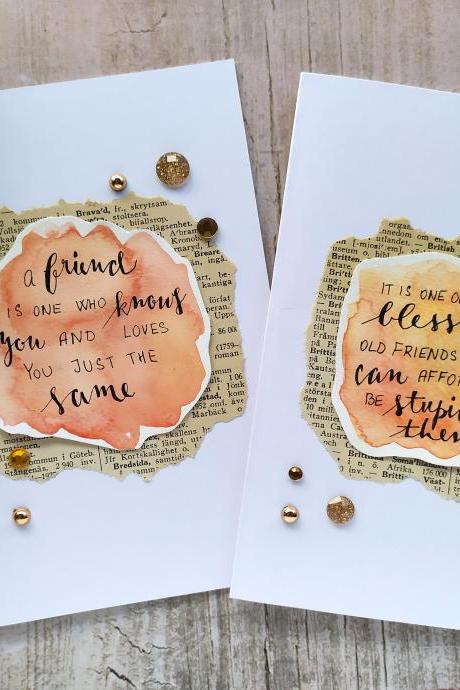 Funny friendship quote greeting card, Gifting card with inspirational quote, Best friends orange birthday card, Watercolor lettering card