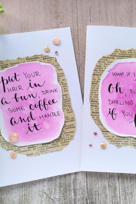 Motivation Greeting card for her, Gifting card with inspirational quote, Pink watercolor handwritten quote card, Birthday card for friend