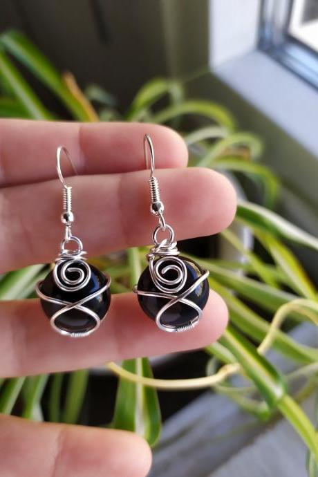 Tiny wire wrapped Black Agate earrings, Black boho dangles, Minimalist wire wrapped silver gemstone earrings, Round spiral wrapped dangles