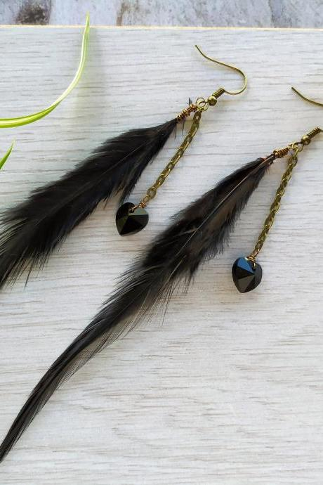 Long black boho feather earrings, Long chandeliers with black feathers and Swarovski hearts, Black and bronze bohemian dangle earrings