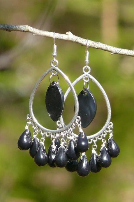 Black and silver chandeliers, Black wire wrapped earrings, Bohemian hoops, Black drop hoop earrings, Black Boho jewelry, Statement earrings