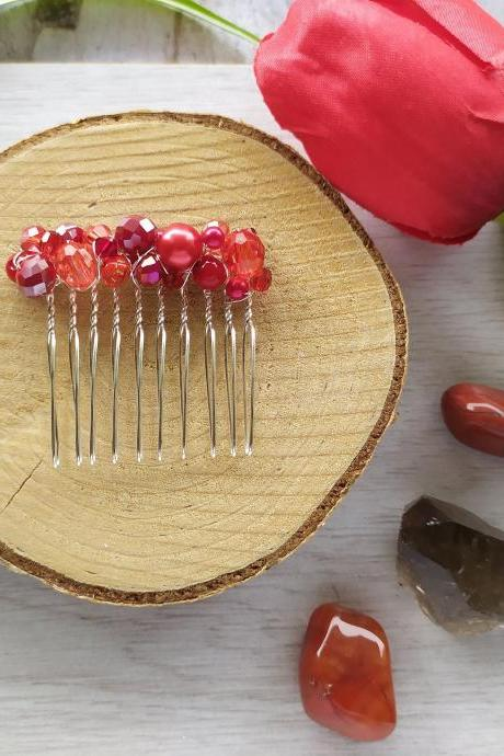 Dark red wedding hair comb, Red beaded slide comb, Bridesmaid hair accessory, Gothic vampire wedding bohemian hair comb, Red Hair jewelry