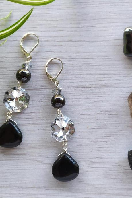 Black onyx and Hematite dangle earrings, Long black silver dangles, Black grey gemstone earrings, Elegant drop crystal earrings,Gift for her