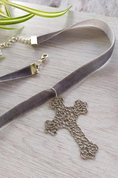 Grey silver cross velvet choker, Metal rock punk necklace, Choker with gothic cross, Grey necklace with cross, Alternative fashion necklace