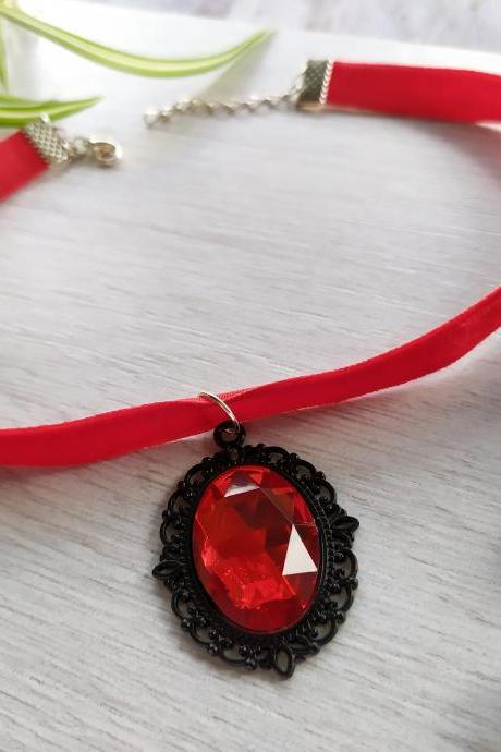 Red black velvet choker, Metal rock punk necklace, Choker with gothic style pendant, Red necklace with faux gem,Alternative fashion necklace