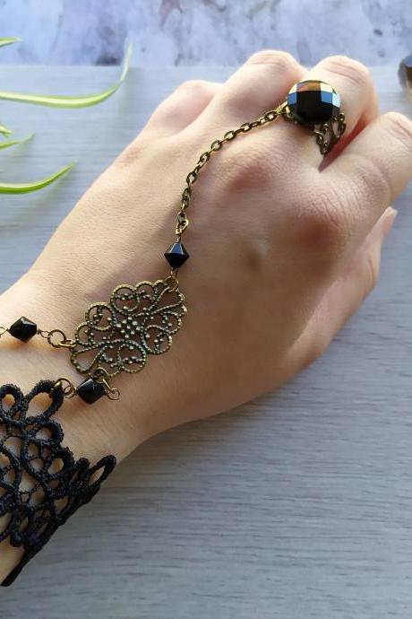 Black gothic lace bracelet with ring, Wide gothic ring bracelet, Black filigree bracelet, Alternative fashion necklace
