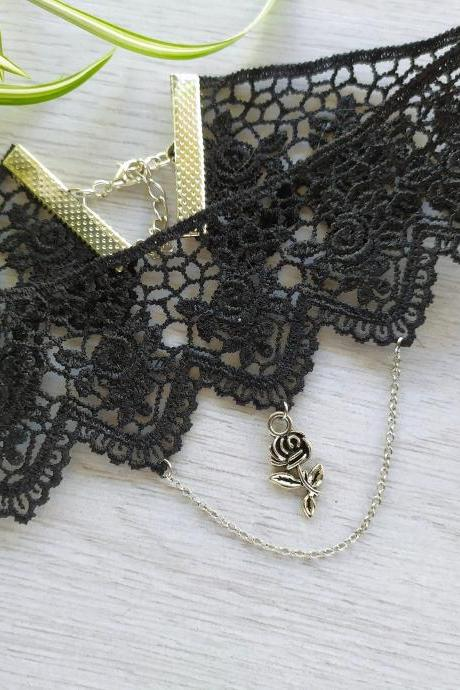 Rose black lace choker, Wide gothic choker necklace, Choker with chain and rose, Black choker with rose charm, Alternative fashion necklace