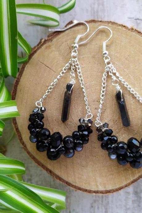 Black bubbly swings, Black silver gemstone chandeliers, Wire wrapped silver bohemian earrings with gemstones,Black boho earrings with stones.