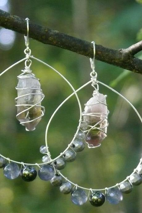 Smoky quartz point hoops, Full Moon mixed gemstone hoops,Labradorite Hematite Agate Smokey Quartz earrings,Wire wrapped silver hoop earrings.