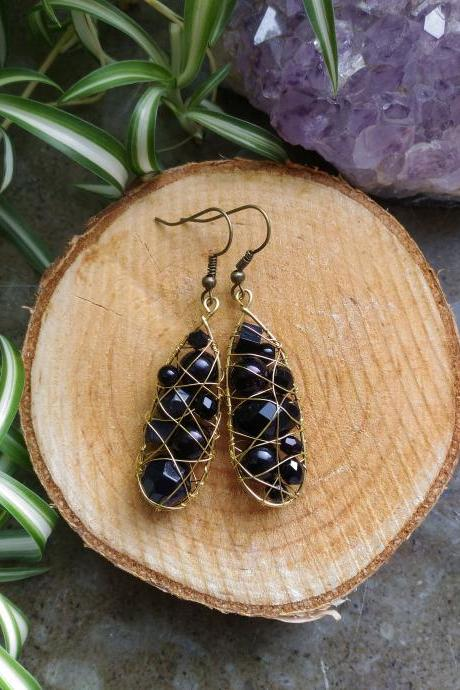 Black wire wrapped earrings, Bohemian mismatched earrings, Elegant black earrings, gift for her, Black boho earrings.