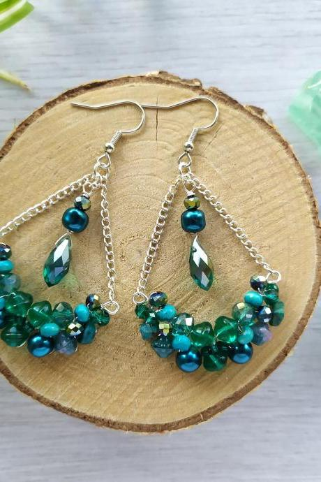 Teal bubbly swings, Wire wrapped silver and blue green bohemian earrings with Chrysocolla, Teal silver chandelier earrings.