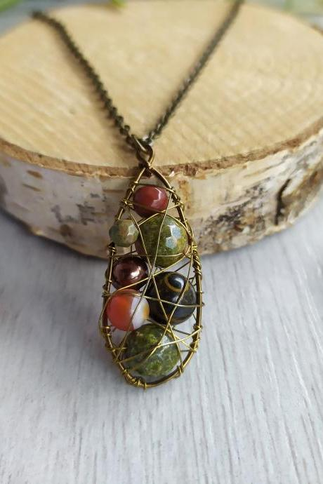 Brown green mixed gemstone necklace, Unakite, Agate, Mookaite, Tigers eye necklace, Nature inspired wire wrapped bohemian pendant.