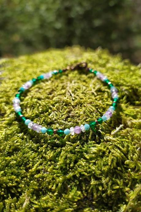 Spring collection:Green and purple dainty bracelet, Amethyst Rainbow Moonstone Amazonite gemstone bracelet,Purple and teal delicate bracelet.