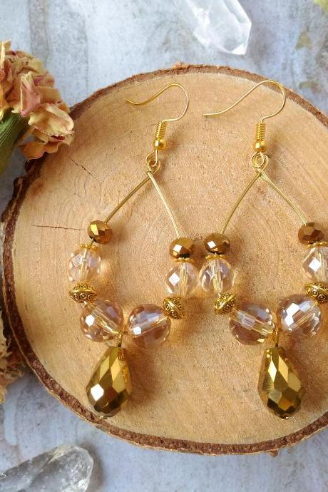 Sparkles collection - Gold boho hoops with drop, Bohemian hoop earrings, Golden chandelier earrings, Sparkly gypsy earrings, Gift for her.