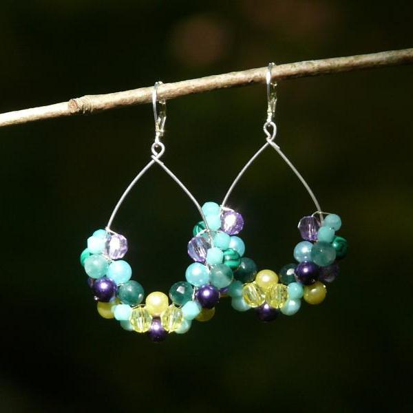 Blue purple green yellow earrings, Mixed gemstone mermaid earrings, Wire wrapped multicolor earrings, Peacock bohemian earrings.Gift for her.