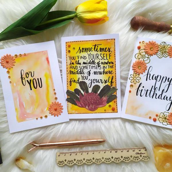 Happy birthday floral quote greeting card, Gifting card with inspirational quote, Supportive orange greeting card, Watercolor lettering card,